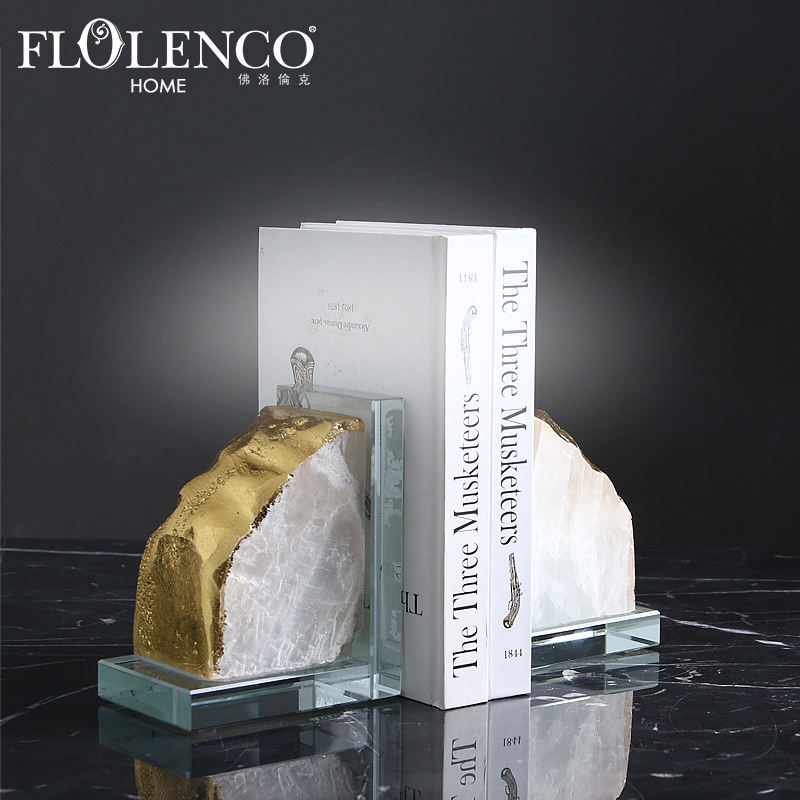 Wholesale decorative mineral quartz stone bookends for home decor