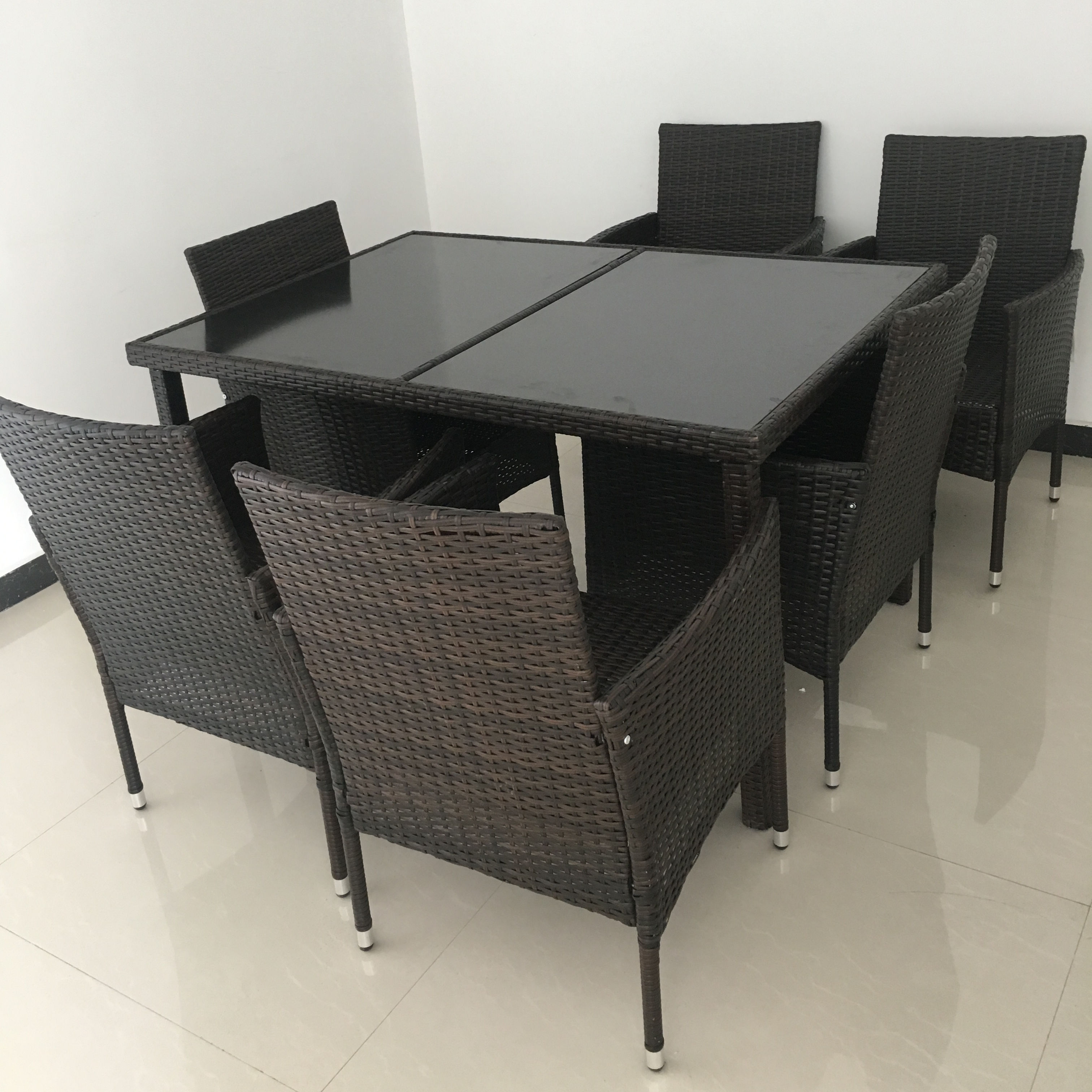 Resin Hitam Patio Taman Set Coklat Kolam Wicker Furniture Tempat Makan Kantor Hotel Wicker Furniture