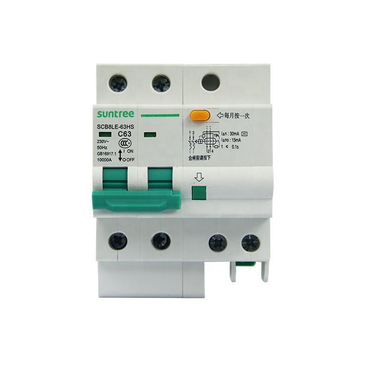 DZ47LE-63 1P Disjoncteur de courant r/ésiduel N C63 RCCB disjoncteur de courant r/ésiduel 230V 63A 30mA