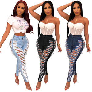 Wholesale plus size ladies skinny ripped high waist jeans for women