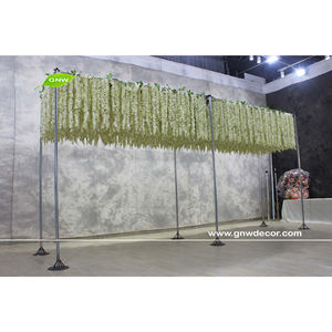 GNW Novo Design de Luxo Roll Up Wedding Decor Artificial Wisteria Flor Rosa pano de Fundo Do Painel para o Teto