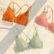 2020  Latest Design Fancy Underwear Hot Ladies Fashion Model Pad Bra and Brief With Lace Young Girl Transparent Bra Brief Sets