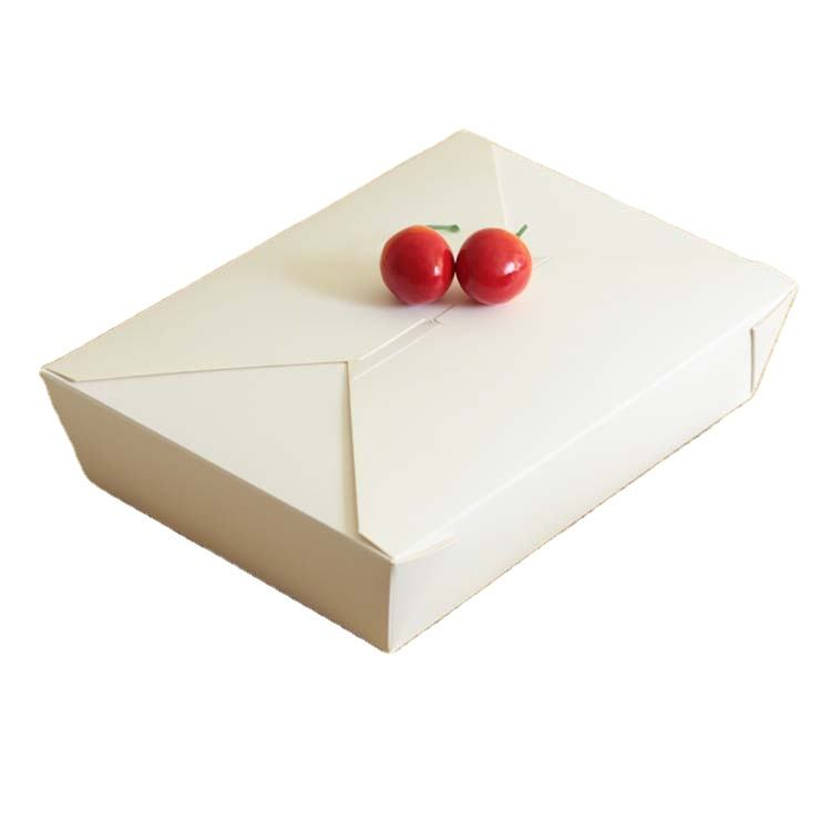 Takeaway white paper box for food Take out package fried chicken barbecue lunch box disposable fruit salad box