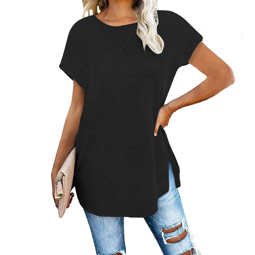 Women's 2020 Short Sleeve Tunic t Shirt Side Split Plain T-shirt Loose Fit Summer Henley Blouses Tops Shirts