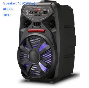 Factory popular DJ sound bluetooth speaker with LED light music system with USB FM support trolley speaker karaoke