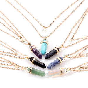 Bohemia Hexagonal Column Quartz Moon Choker Necklace Fashion Natural Stone Bullet Crystal Pendant Necklace For Women Jewelry