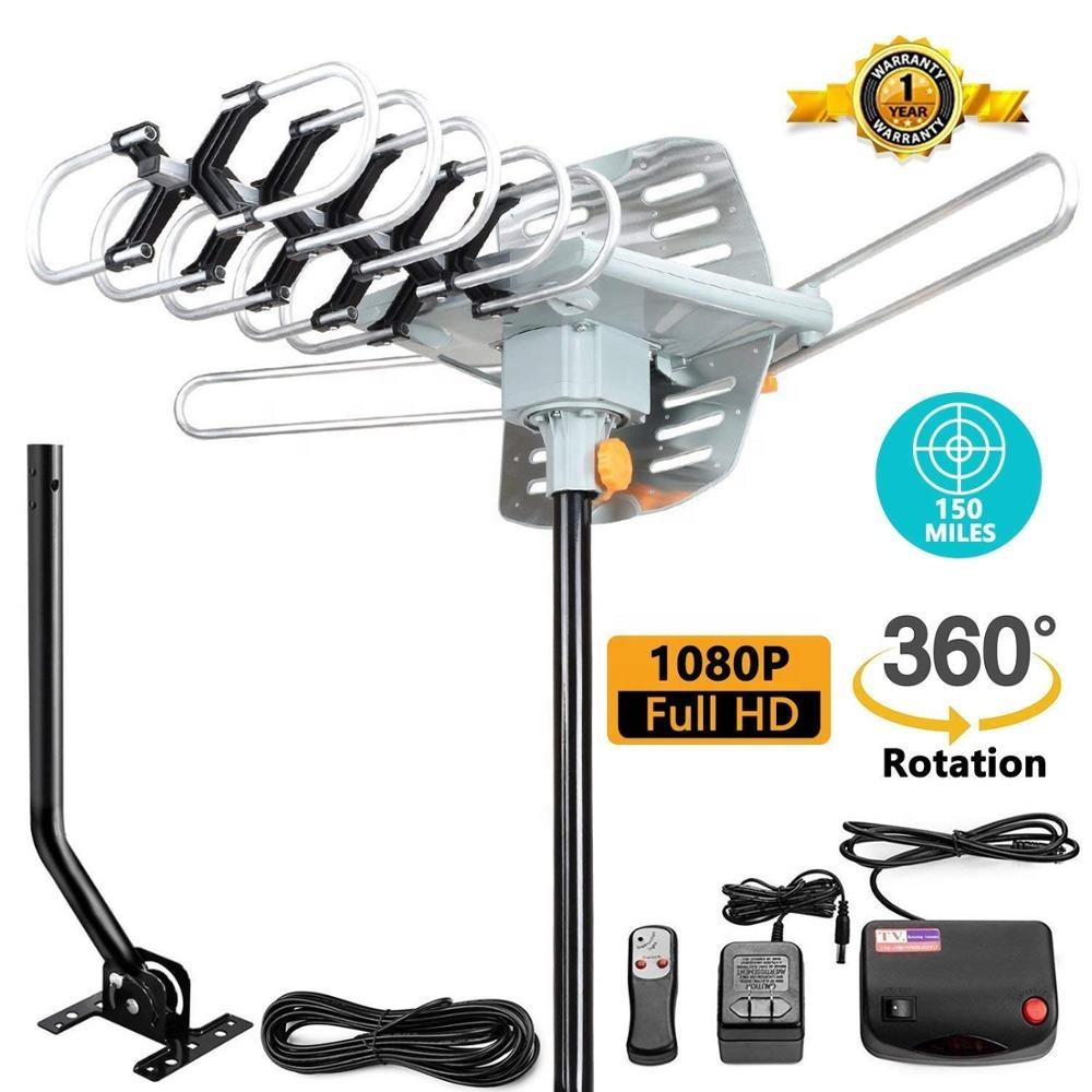Outdoor Amplified HDTV Antenna 150 Mile Motorized with Adjustable Antenna Mount Pole for 2 TVs-FOB VIETNAM ,HOCHIMINH