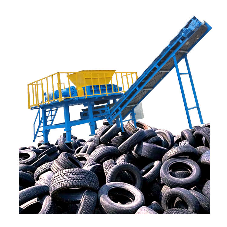 Low Prices Tyre Crusher Recycling Machine XRD60 Shredded Rubber Tires Blade China Make Tire Shredder