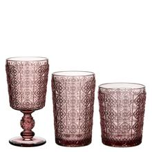 Newest Vintage Single Head Pressed Colored Goblet Wine Glass Juice Water Tumbler Glass