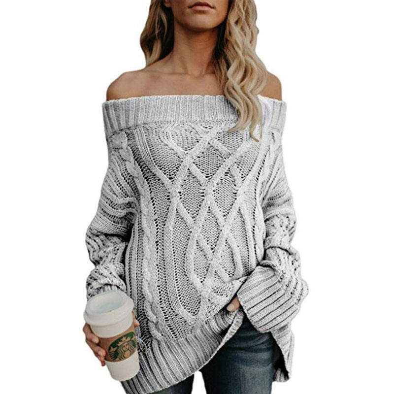 Wholesale Hot Sale Off Shoulder Sexy Sweater for Women Rough Knitted Sweater