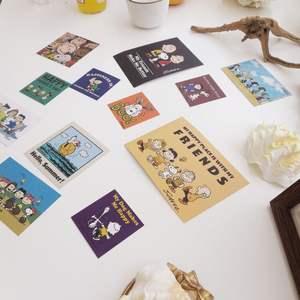Instagram Snoopy Peanut cartoon Postcard cute girl heart cartoon hand book sticker wall decoration card