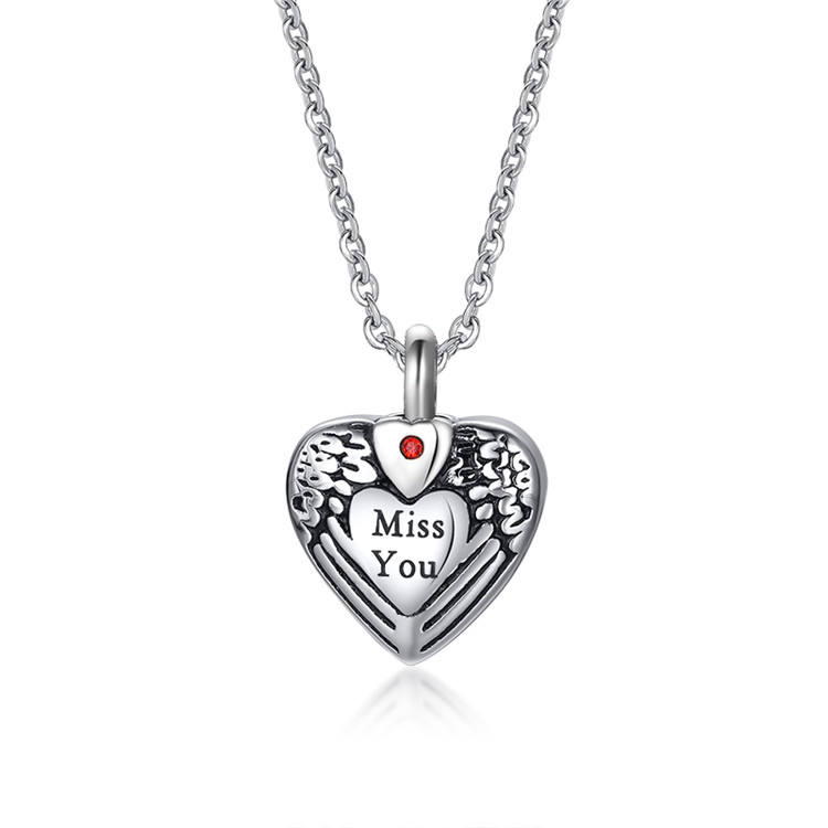Heart Shaped Keepsake Miss You Openable Cremation Jewelry For Ashes Necklace