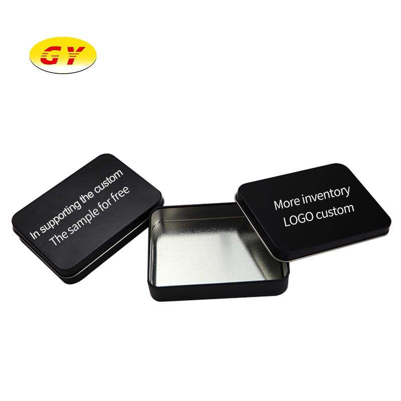 Cheap Logo Printing Cans Packaging Anti Rust Black Matte Metal Tin Box for Cards