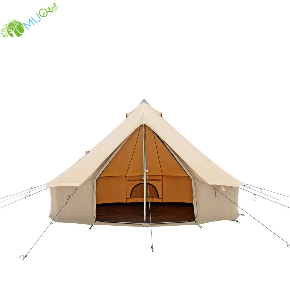 YumuQ Luxury 5M Glamping Waterproof Cotton Canvas Bell Tent for Outdoor Camping, Travel, Family and Party