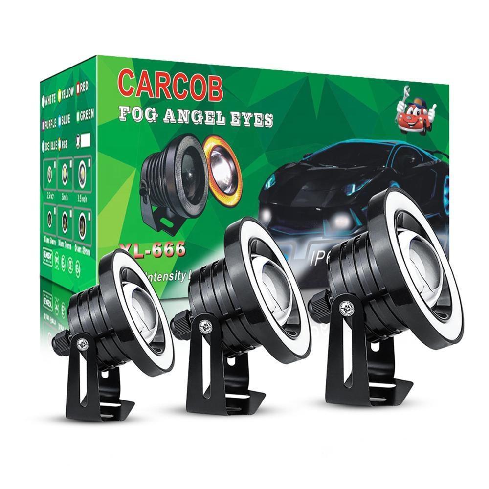 BOTU-TECH 2Pcs LED COB Angel Eyes Headlight with Shell Halo Ring 80mm