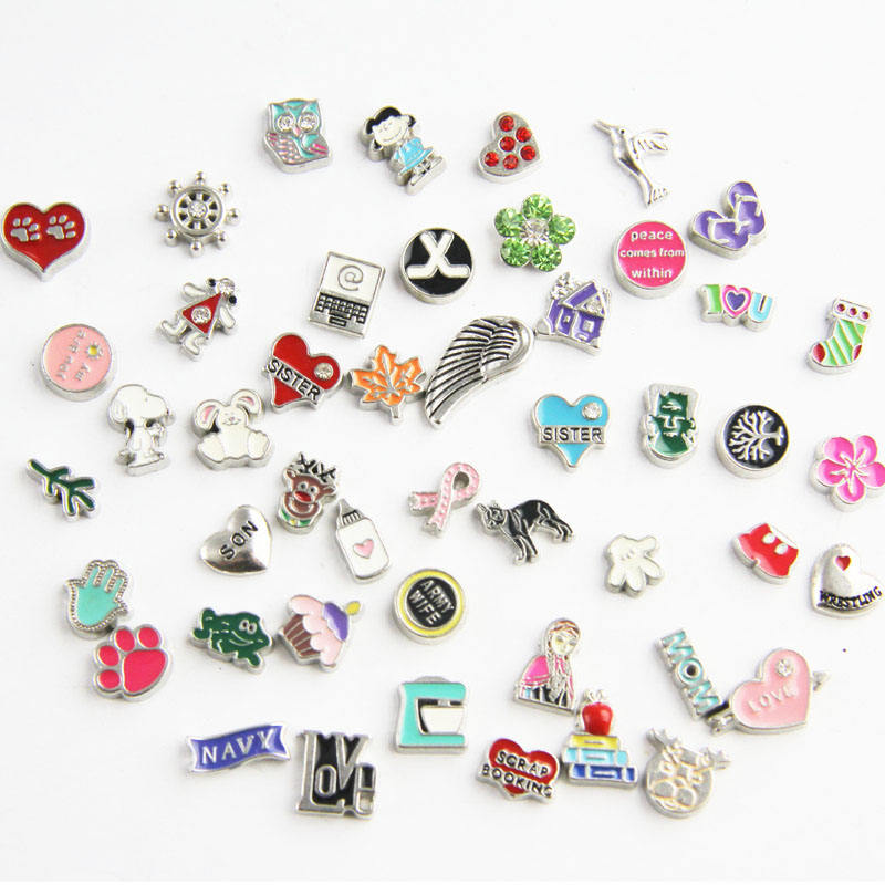 Wholesale Alloy Mixed Styles Floating Locket Custom Charms For Glass Memory Lockets
