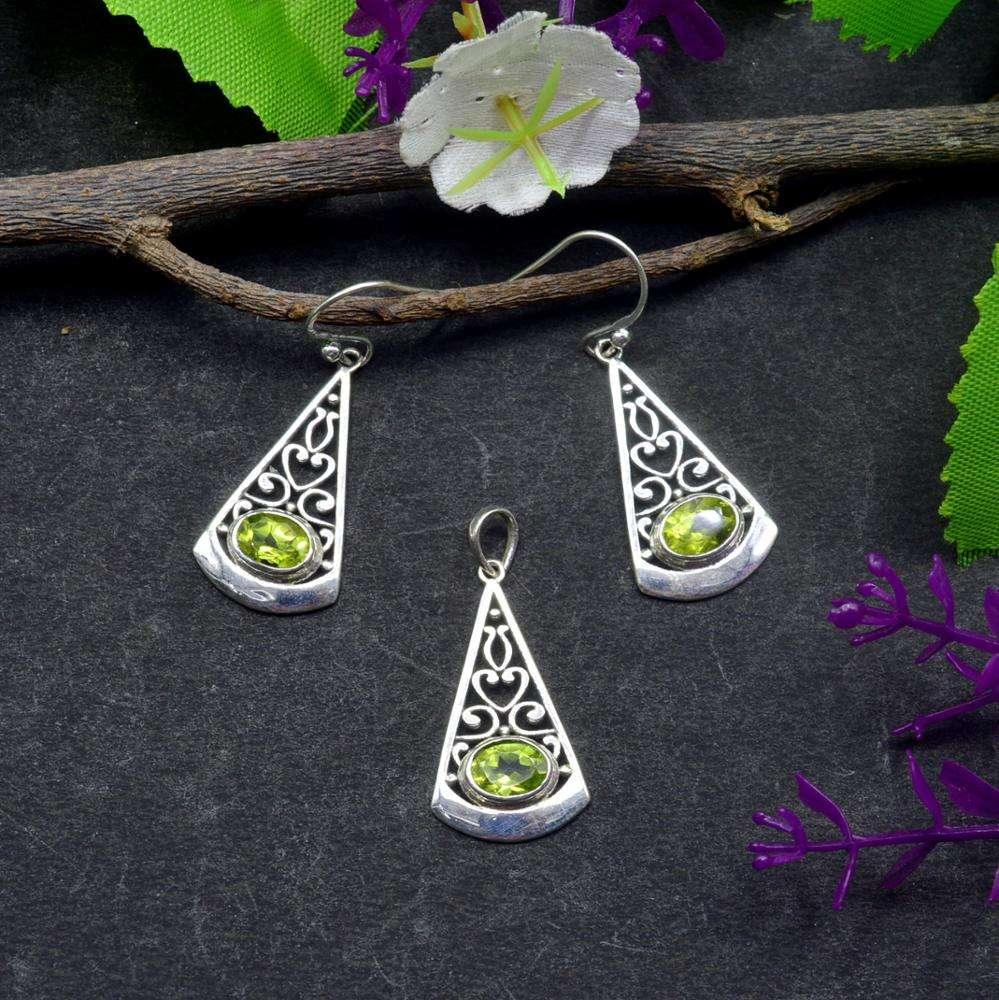 Naturel Citron Topaze 925 Faits à la main En Argent Sterling De Mode Ensemble de Bijoux Traditionnels J16
