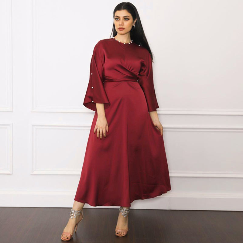 New Arrivals Soft Satin Burgundy Maxi Dress Women Dubai Arabic High Quality Kaftan Abayas Fashion Muslim Self-Belted Robe