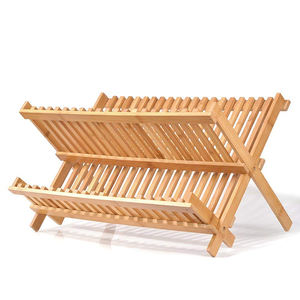 Oem kitchen collapsible bamboo folding dishes drainer drying rack with utensils holder foldable bamboo dish drying rack