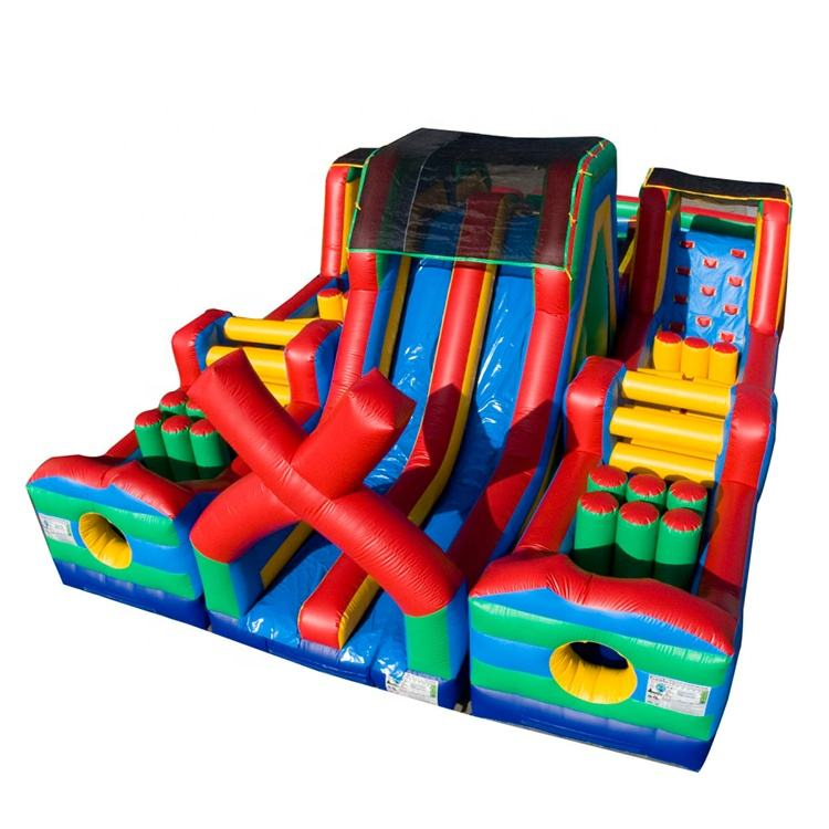 Popular inflatable games adults race game inflatable obstacle course castle slides