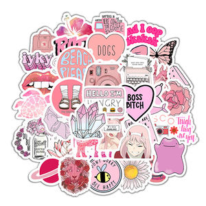 50 PCS Pink Cute Laptop Stickers,Waterproof Vsco Trendy Aesthetic Hydroflasks Luggage Reusable Stickers for Teens Girls