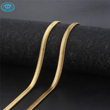 Hoyo hip hop jewelry gold plated stainless steel herringbone snake chain for men women
