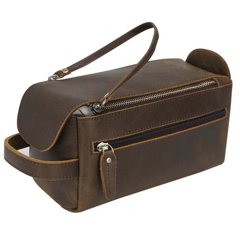 New Arrival Double Zip Crazy Horse Leather Bathroom Dopp Bag Travel Make Up Cosmetic Bag Genuine Leather Toiletry Bag For Man