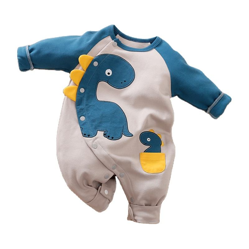 Cartoon dinosaur baby onesie for spring and fall baby onesie for crawl
