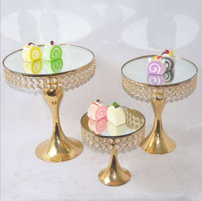 Gold Mirror Cake Stand Crystal Display Cake Base Stand Swing Metal Cake Stand for Wedding Birthday Party Decoration