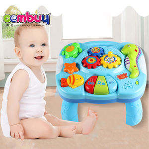 Hot sale folding learning table animal music toys plastic baby rattle