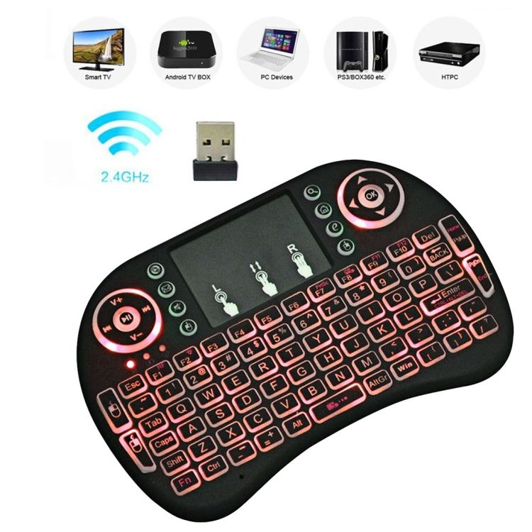 Dropshipping Air Mouse Remote 92 Tombol <span class=keywords><strong>QWERTY</strong></span> 2.4G Hz Nirkabel Lampu Latar PC Tablet Mini Keyboard dengan Touchpad untuk Android TV