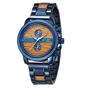 OEM Custom Logo Wooden Bracelet Watches For Men 2020 New Royal Blue Steel And Wood Luminous Pointer Chronograph Quartz Watches