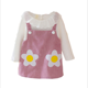 Spring baby girls 2pcs dress set sweet flower kids girls long sleeve Tshirt + dress set clothes
