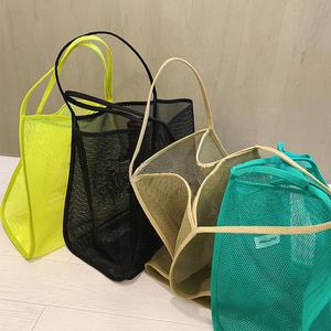 Wholesale Custom Girl Popular Durable Shopping Carry Bag High Capacity Reusable Eco Friendly Mesh Tote Bag With Pockets