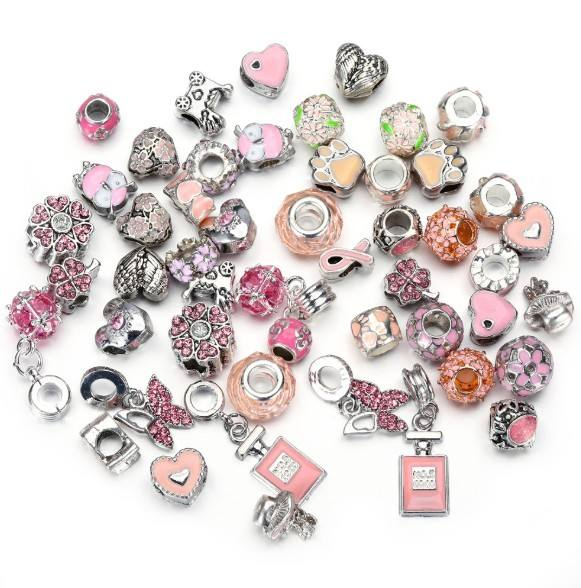 Amazon bulk diy designer charms pink custom charms for bracelet making jewelry