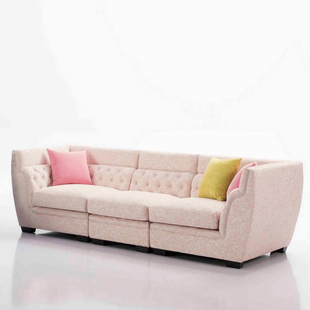 Wholesale Fashion european style modern colorful salon furniture waiting chesterfirld sofa 3 seater pink classic couch