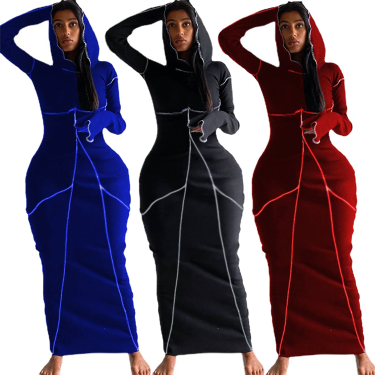 2021 Spring Mujer One Piece Clothing Long Sleeve Hooded Stripe Print Women Bodycon Maxi Dress