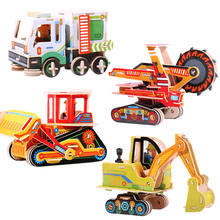 Children Construction Vehicle Excavator 3D Puzzle Model Toy Educational DIY Wooden Assemble Car