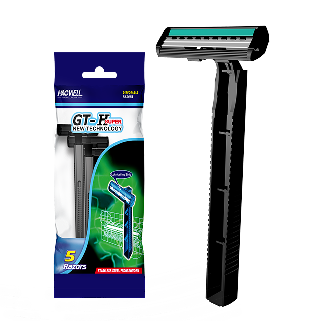 HW-B235GL wholesale cheap Twin 2 two blade razor good quality disposable razor with stainless steel and plastic handle