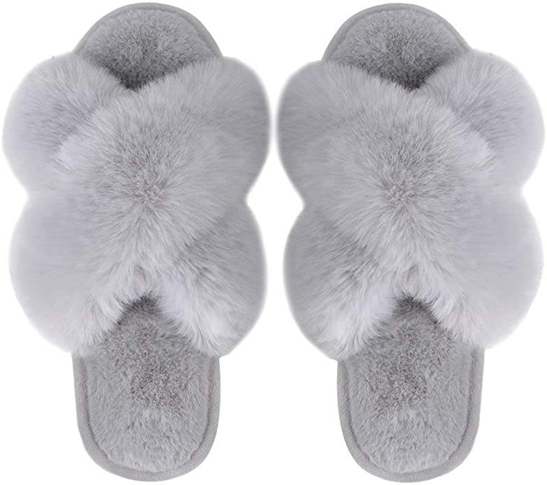 Women's Cross Band Furry Slippers House Shoes Indoor Outdoor Comfortable Rabbit Faux Fur Slipper