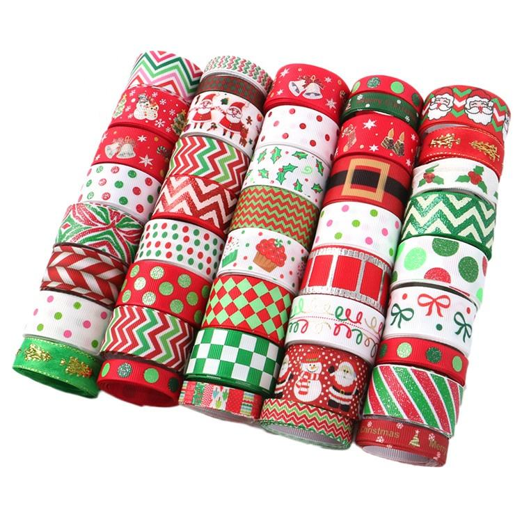 Random Designs Merry Christmas Ribbon Roll For Gift Wrapping Hirbows Decoration 10rolls/Set