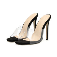 Wholesale Hot Selling Sexy Black Apricot High Heels Women Peep Toe PVC Clear Heels Slip-on Sandals Stilettos Slipper