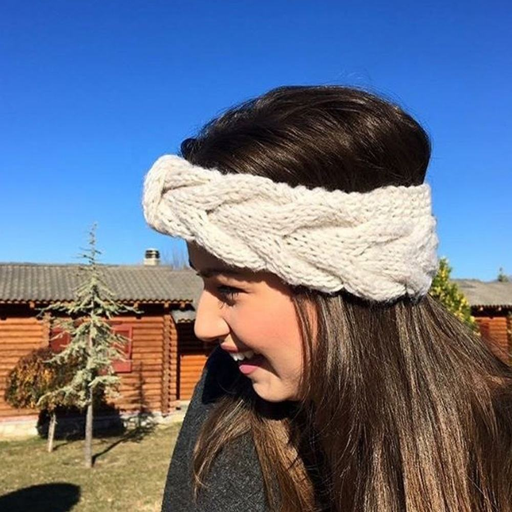 Women 13 color warm hair accessories autumn and winter headband ear cover hood hand twist bow knit hair band wool headband