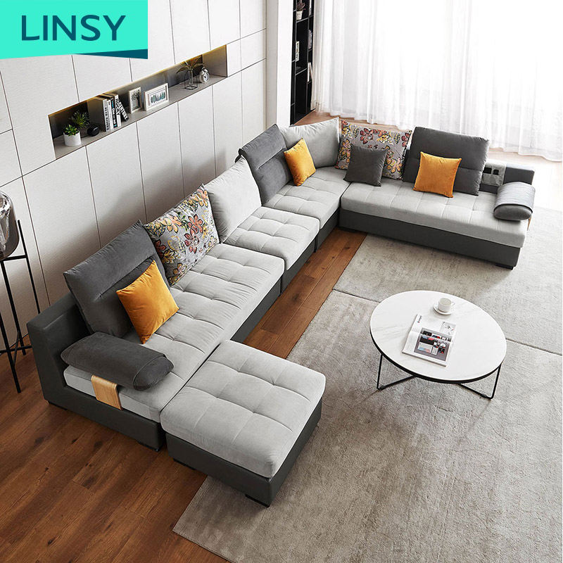 Living Room L Shape Corner Sectional Fabric Modern Sofa Set