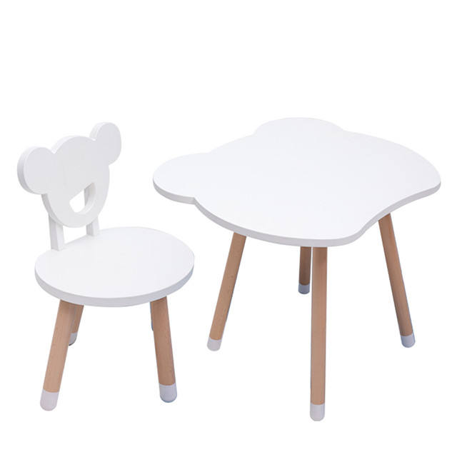 Environmental Kids Table and Chair Set Kindergarten Children Solid Wood Furniture for Baby Room Decoration