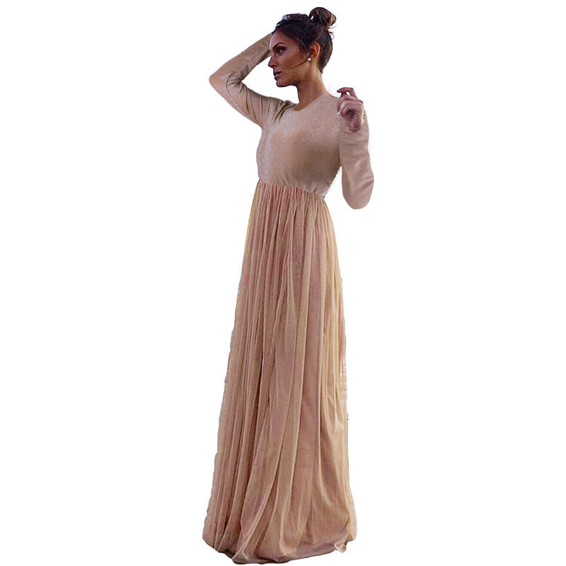 2020 New Arrivals Long Sleeve Sequin Bodice Cocktail Wedding Party Maxi Women Dress