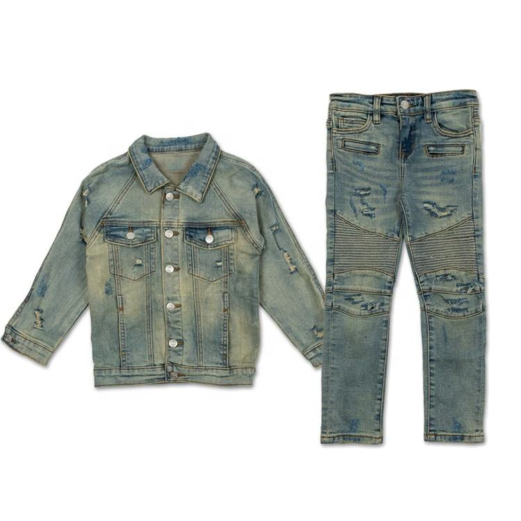 Boutique trousers hot sale boys latest design pants fashion denim jeans baby boys denim