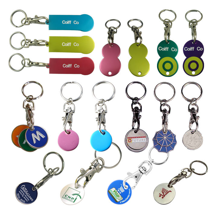 supermarket shopping trolley coin keyring, customized shopping coin, coin keychain