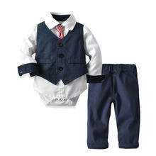 Newborn Romper Cotton Formal Clothes For Boys Gentleman Suit Baby Boys' Clothing Set 20C585