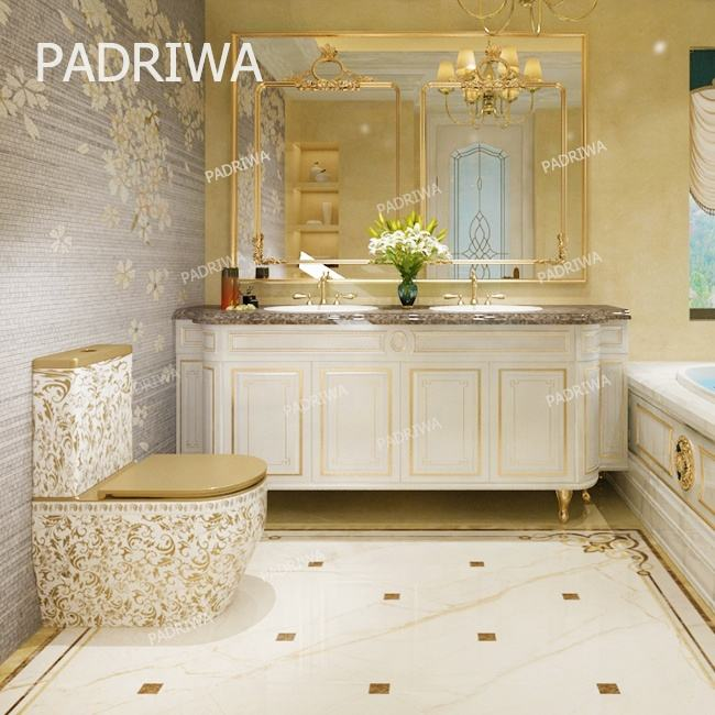360 Degree Rimless Flushing Gold White Color Lucky Flower Pattern Design Ceramic WC One Piece Big Toilet